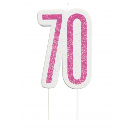 Giltter 70th BIRTHDAY Candles Set
