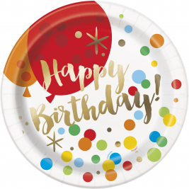 Glitzy Gold Happy BirthDay Foil PLATES 9