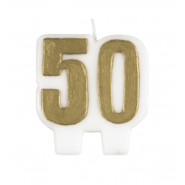 BIRTHDAY CHEER NUMERAL CANDLE GOLD NUMBER 50