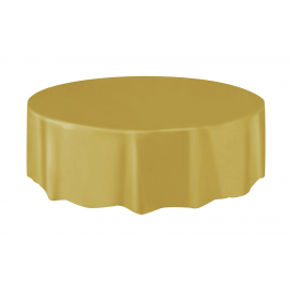 GOLD ROUND PLASTIC TABLECOVERS 84