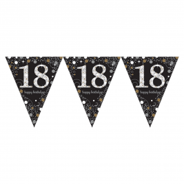 Gold Sparkling Celebration 18th Prismatic Happy Birthday Pennant Banner  1.8 m