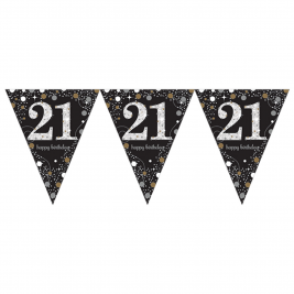 Gold Sparkling Celebration 21st Prismatic Happy Birthday Pennant Banner 4m