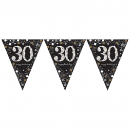 Gold Sparkling Celebration 30th Prismatic Happy Birthday Pennant Banner 1.8m