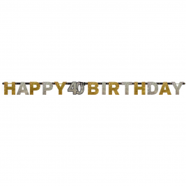 Gold Sparkling Celebration 40th Happy Birthday Prismatic Letter Banners 2.14m x 17cm