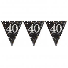 Gold Sparkling Celebration 40th Prismatic Happy Birthday Pennant Banner 1.8m