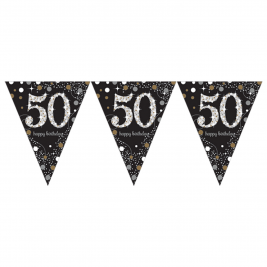 Gold Sparkling Celebration 50th Prismatic Happy Birthday Pennant Banner 1.8m