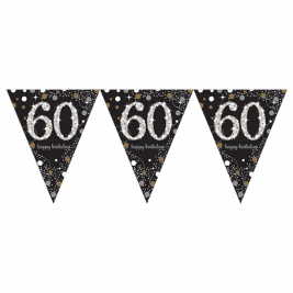 Gold Sparkling Celebration 60th Prismatic Happy Birthday Pennant Banner  1.8m