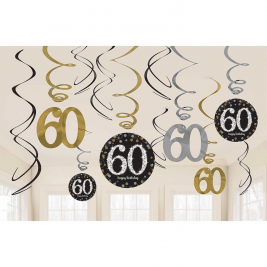 Gold Sparkling Celebration 60th Swirl Decorations