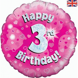 Happy 3rd Birthday Pink Holographic Foil Balloon 18