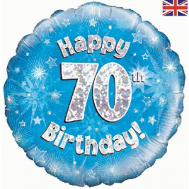 Happy 70th Birthday Blue Holographic Foil Balloon