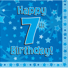 Happy 7th Birthday Blue 33cm x 33cm 3-ply Napkins 16pcs