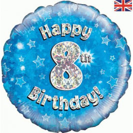 Happy 8th Birthday Blue Holographic Foil Balloon