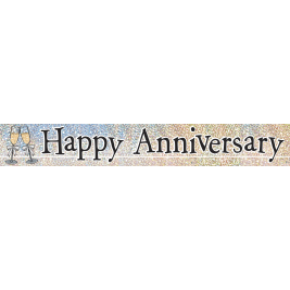 HAPPY ANNIVERSARY PRISMATIC BANNER 12 FT