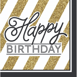 Happy Birthday Lunch Napkins Black and Gold - 16pk
