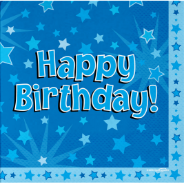 Happy Birthday Blue 33cm x 33cm 3-ply Napkins 16pcs