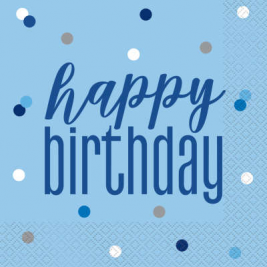 Happy Birthday Blue Glitz Luncheon Napkins Pack of 16