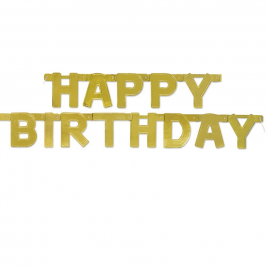 Golden Happy BirthDay DELUXED JOINTED BANNER