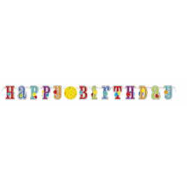 HAPPY BIRTHDAY JUMBO JOINTED BANNER WITH NUMBER STICKERS
