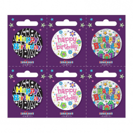 Happy Birthday Small Badges (6 assorted per perforated card) (5.5cm)