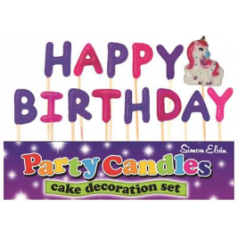 Happy Birthday Unicorn Pick Candles