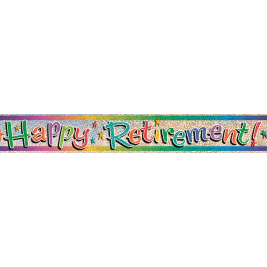 HAPPY RETIREMENT PRISMATIC BANNER 12 FT