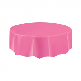 HOT PINK ROUND PLASTIC TABLECOVERS 84
