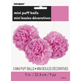 Hot Pink Tissue Puff Decorations 9