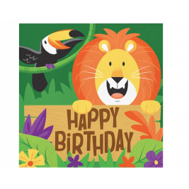 Jungle Safari Happy Birthday Lunch Napkins 2 ply pack of 16