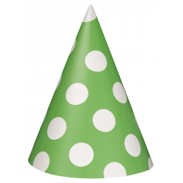 Green Polka Dots   Party Hats - Pack of 8