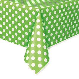 Green Polka Dots  Plastic table cover  54