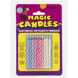 Unique Magic Birthday Candles, Assorted Pack of 10 - 9805M