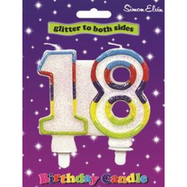 Milestone Birthday Candle - Number 18