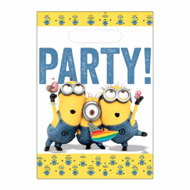 Minions Plastic Party Bags - Pack of 8
