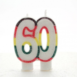 Number 60 Birthday Candle Rainbow Colored