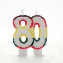 Multicoloured Glitter Number  80  Candle
