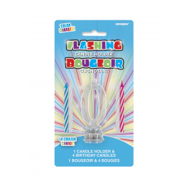 1 FLASHING CANDLE HOLDER WITH 4 BIRTHDAY CANDLES NUMERAL 0