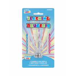 1 FLASHING CANDLE HOLDER WITH 4 BIRTHDAY CANDLES NUMERAL 5
