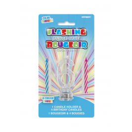 1 FLASHING CANDLE HOLDER WITH 4 BIRTHDAY CANDLES NUMERAL 6