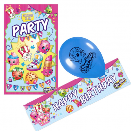 Official Shopkins Party Decoration Pack including Balloons, Banner and Door Poster