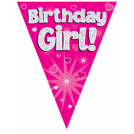 Party Bunting Birthday Girl Pink 11 flags 3.9m