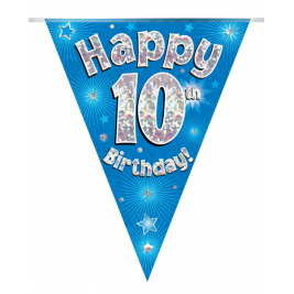 Party Bunting Happy 10th Birthday Blue Holographic 11 flags 3.9m