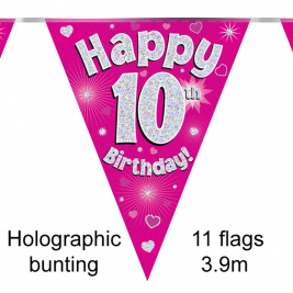Happy 10th Birthday Pink Holographic Party Bunting 11 flags 3.9m