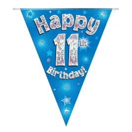 Party Bunting Happy 11th Birthday Blue Holographic 11 flags 3.9m