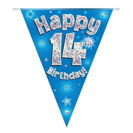 Party Bunting Happy 14th Birthday Blue Holographic 11 flags 3.9m