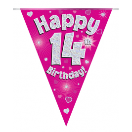 Party Bunting Happy 14th Birthday Pink Holographic 11 flags 3.9m
