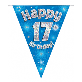 Party Bunting Happy 17th Birthday Blue Holographic 11 flags 3.9m