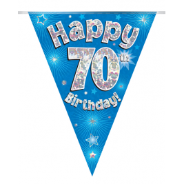 Party Bunting Happy 70th Birthday Blue Holographic 11 flags 3.9m