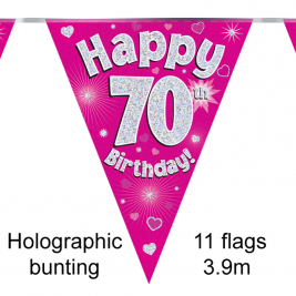 Party Bunting Happy 70th Birthday Pink Holographic 11 flags 3.9m