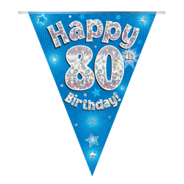 Party Bunting Happy 80th Birthday Blue Holographic 11 flags 3.9m