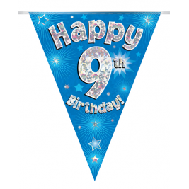 Party Bunting Happy 9th Birthday Blue Holographic 11 flags 3.9m